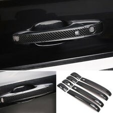 Carbon Fiber Black Door Handle Cover Trim 8pcs For Jeep Grand Cherokee 11-18