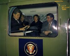 President John F. Kennedy with Pierre Salinger in helicopter New 8x10 Photo