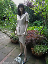 Thierry Mugler Kostüm Gr. 36 Gr. 38 beige Leinen Struktur silber