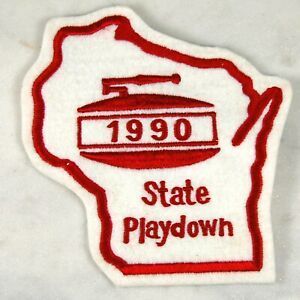 Vintage 1990 Large Jacket Patch Curling State Playdown