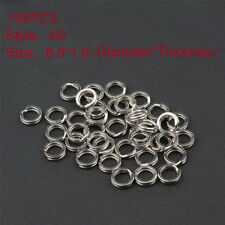 100pcs Fishing Solid Stainless Steel Snap Split Ring Lures Tackle Connector UK 8.5*1.0
