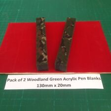 Pack of 2 Forest Green Camouflage Acrylic Pen Blanks 130mm x 20mm