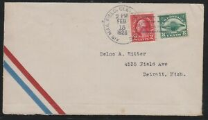 USA 1926 first flight Cover : Chicago - Detroit - Cleveland (15th Feb 1926)