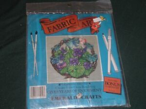 Vtg 70s Marker Pen Coloring Grapevine Pansy Wreath Fabric Pillow Kit 16x16 #Lk
