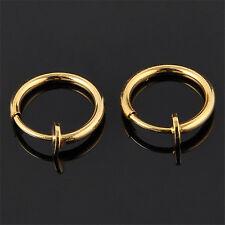 2pcs Clip On Fake Nose Hoop Ring Ear Septum Lip Navel Eyebrow Earrings Piercing