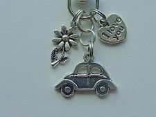 VOLKSWAGEN BEETLE CAR FLOWER  LOVE YOU KEY CHAIN CLIP FOR PURSE FOB BACKPACK BAG