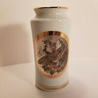 The Art of Chokin Japanese Porcelain Vase Gold Trim Silver Engraving Peacock