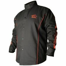 Revco Bsx Contoured Fr Cotton Welding Jacket Blackred Flames