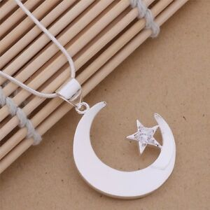 Silver Plated Moon & Star Snake Necklace.18 inch-46cm Gift Crystal. 925 Sterling