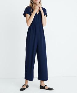 MADEWELL WOMEN'S NAVY BLUE SHORT SLEEVE V-NECK BUTTON FRONT JUMPSUIT Sz 8