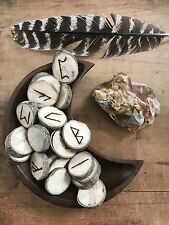 Rune Set Polar Wood Divination Tool Gemstone Feather Wicca Pagan Metaphysical
