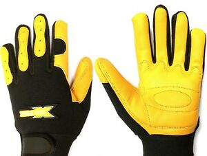 Leather Work Gloves Comfort Fit Stretch Back Padded Palm Working Gloves S/M/L/XL