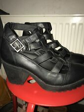 Black Buckle Strap Goth Biker Cut Out Pleather Faux Leather Heel Boots 7