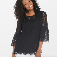 Isaac Mizrahi Live! Floral Lace 3/4 Bell Sleeve Tunic - Black - Small
