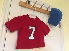 Disguise football Player costume Halloween Red Felt Jersey #7 7 Helmet 2T 3T-4T