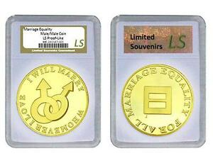 Same Sex Marriage Coin Gay Male 1 oz Proof Gold layered Silver, Slab Rights