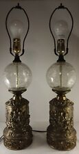 Antique Pair of Gilt Brass Cast Metal Cherub Lamps With Clear Cracked Globes