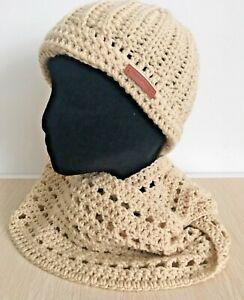Valentines Day Gift New SET Infinity Scarf Hat Beanie Handmade Crochet Beige