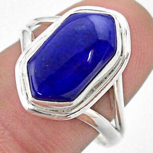 5.38cts Hexagon Natural Blue Lapis Lazuli Silver Solitaire Ring Size 8 T48657