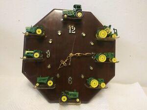 Rare Vintage John Deere Wall Clock (Not working) With 8 John Deere Tractors