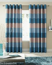 """BRAZIL TEAL CREAM BEIGE STRIPED FAUX SILK LINED RING TOP 90"""" X 90"""" CURTAINS #OIR"""