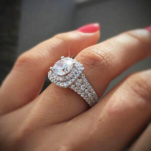Exquisite White Sapphire Ring Women 925 Silver Engagement Wedding Jewelry Sz 10