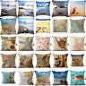 "New 18"" Home Cotton Linen Sea Creature Pillow Case  Bed Sofa Waist Cushion Cover"
