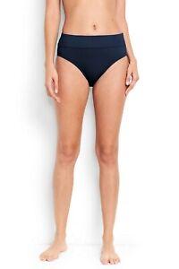 Lands'End Women's High Waisted Tummy Ctrl Bikini Bottoms Deep Sea Sz 8 #450494