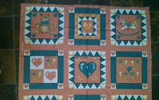 Vintage country fabric panels Bears Hearts horse pillow quilt 15 squares Craft