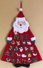 Vintage Christmas Advent Calendar Cloth Fabric Hanging Pocket Santa Tree
