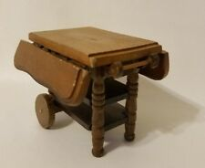 Vintage Kitchen Dollhouse Wood Tea Serving Cart Drop Leaf Price Products 1:12