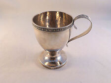 """Beautiful Coin Silver Footed Cup W/ Decorated Handle & Rims-Mono'd 3 1/2"""" Tall"""