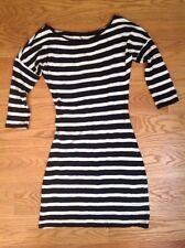 BLACK & WHITE STRIPE DRESS Women's SMALL 3/4 Sleeve COTTON Jersey FRENCH STRIPE