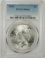 1923-P $1 PEACE SILVER DOLLAR PCGS MS64 #39204880  GREAT EYE APPEAL BU COIN!!!