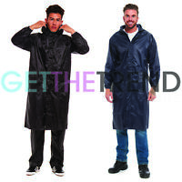 New Mens Long Waterproof Hooded Lightweight Rain Coat Outdoor Jacket Raincoat UK