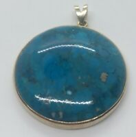 Vintage Sterling Silver Necklace 925 Pendant Turquoise Blue Stone Gold Tone
