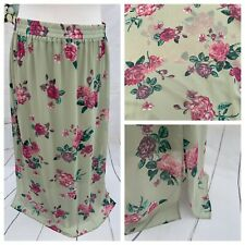 Ladies Green Skirt 18 Uk Size TU Long Maxi Floaty Elasticated Part Lined Holiday