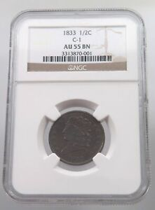 UNITED STATES HALF CENT 1833 GRADED #p54 111