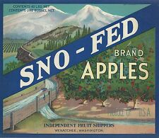 "RARE OLD ORIGINAL 1934 STONE LITHO ""SNO-FED"" BOX LABEL ART WENATCHEE WASHINGTON"