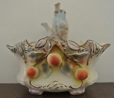Vintage Porcelain Large Basket with Birds with  H J Crown Mark Vienna