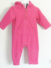 babyGAP Size 12-18 Months Pink Fleece Long Sleeve Bodysuit Romper