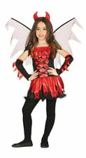 Girls Red Devil Halloween Fancy Dress Costume & Wings & Headband Childs Outfit