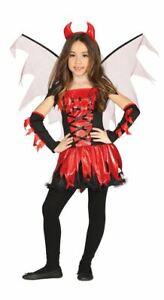 Girls Devil Costume & Wings & Headband Halloween Demon Kids Fancy Dress Outfit