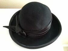 Women's Black Dress Hat Derby church party wedding winter bowknot formal medium