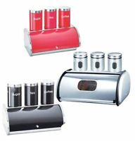 4 PIECES STAINLESS STEEL BREAD BIN SET WITH TEA COFFEE AND SUGAR JARS