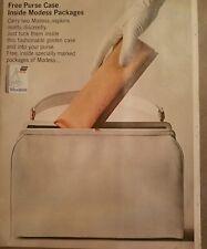 1963 Modess feminine hygiene sanitary napkin handbag purse case vintage ad