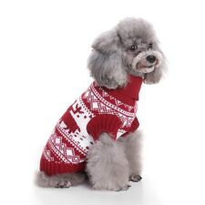 Warm Soft Pet Dog Knitted Sweater Xmas Clothes Cosplay Costume Apparel Red_L