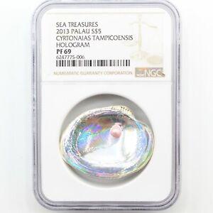 2013 Palau Silver $5 Triangle Cyrtonaias Tampicoensis l Hologram w/ Pearl PF 69