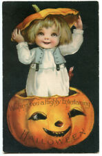 Clapsaddle Wolf Halloween Child in JOL Holding Lid Over Head