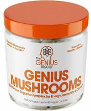 Genius Mushroom Lions Mane Cordyceps and Reishi  Immune System Booster and Nootropic Brain Supplement - 90 Pills